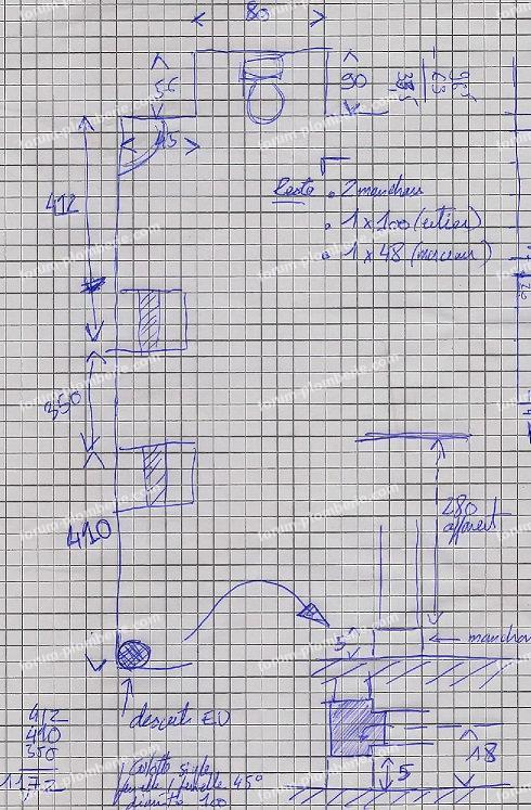 schéma raccordement WC d'appoint + lave mains
