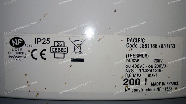 forum plomberie fuites chauffe eau pacific thermor electronic aci 200l. Black Bedroom Furniture Sets. Home Design Ideas