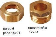 ecrou 6 pans 15x21- raccords m-17x23