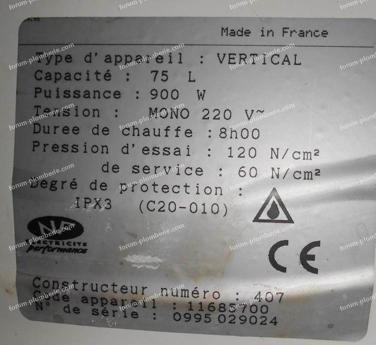 identification chauffe-eau Age Corail