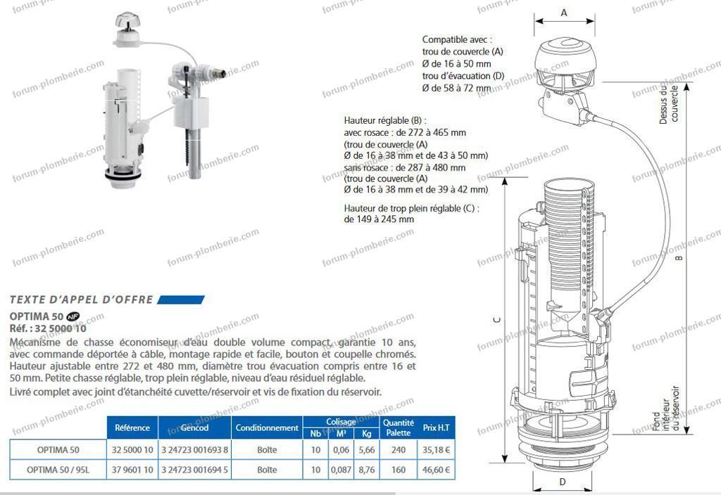 mécanisme réservoir wc kit adaptable