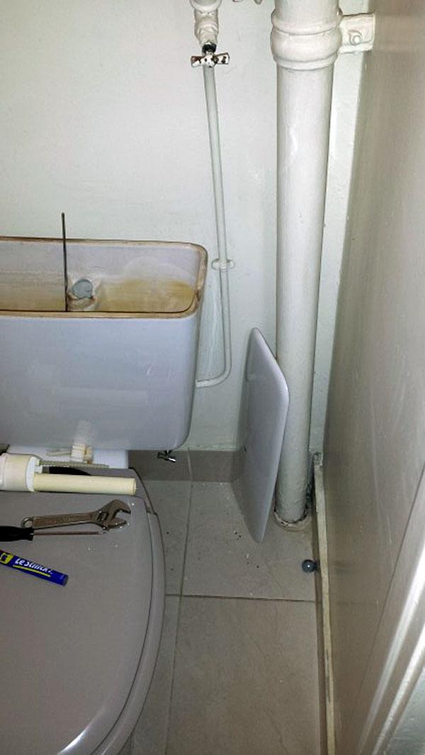 problème arrivée d'eau réservoir des toilettes