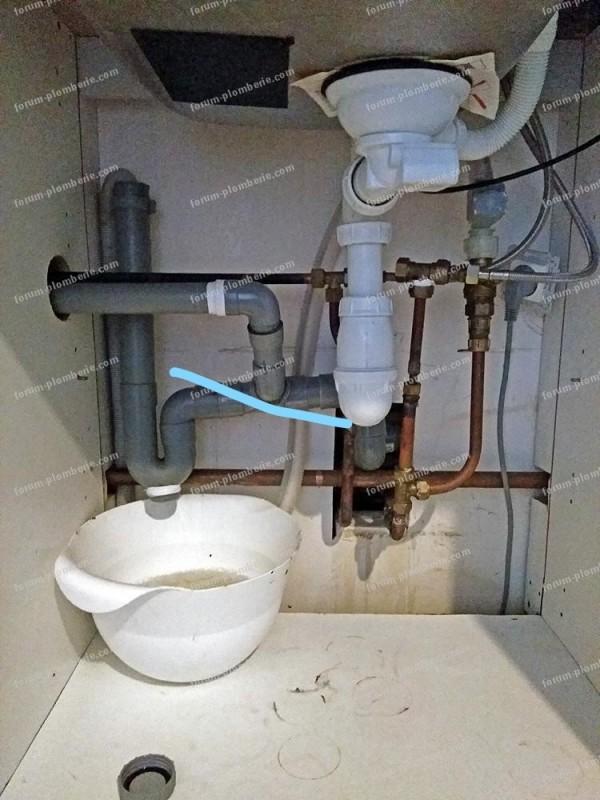 problème remontée d'eau évacuation évier
